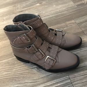 TOP SHOP studded taupe boots